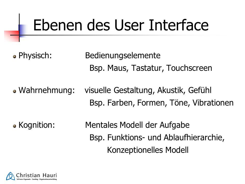 Ebenen des User Interface Physisch: Bedienungselemente Bsp. Maus, Tastatur, Touchscreen Wahrnehmung: visuelle Gestaltung, Akustik, Gefühl Bsp. Farben,