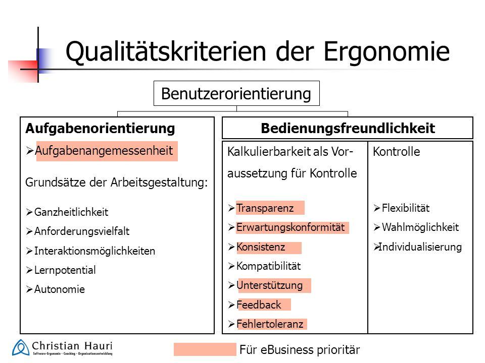 Qualitätskriterien der Ergonomie Benutzerorientierung Aufgabenorientierung Aufgabenangemessenheit Grundsätze der Arbeitsgestaltung: Ganzheitlichkeit A