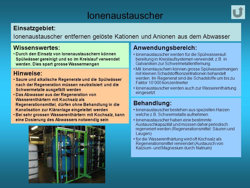 Ionenaustauscher Einsatzgebiet: Ionenaustauscher entfernen gelöste Kationen und Anionen aus dem Abwasser Wissenswertes: Durch den Einsatz von Ionenaustauschern können Spülwässer gereinigt und so im Kreislauf verwendet werden.