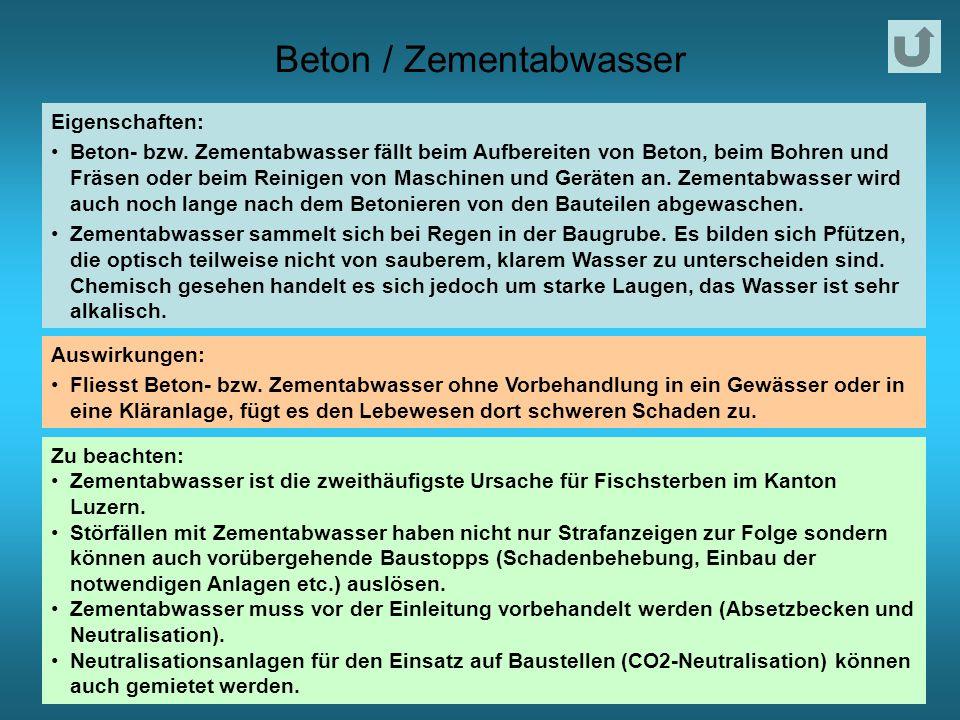 Beton / Zementabwasser Eigenschaften: Beton- bzw.