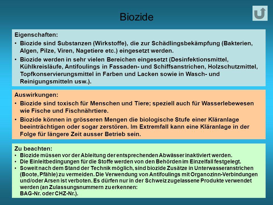 Biozide Eigenschaften: Biozide sind Substanzen (Wirkstoffe), die zur Schädlingsbekämpfung (Bakterien, Algen, Pilze, Viren, Nagetiere etc.) eingesetzt werden.