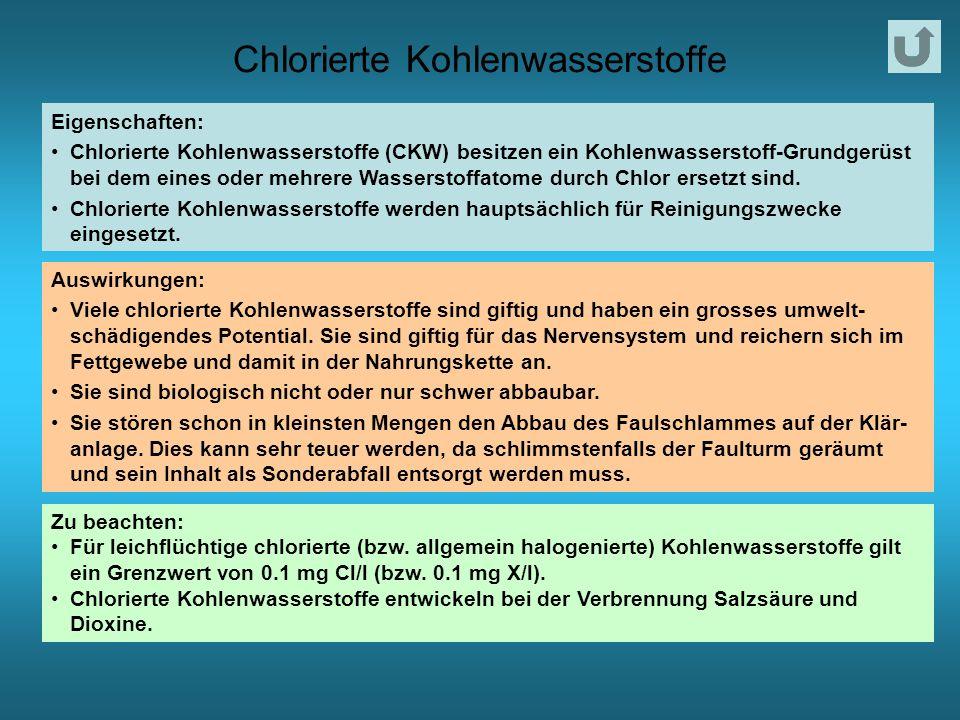 Chlorierte Kohlenwasserstoffe Eigenschaften: Chlorierte Kohlenwasserstoffe (CKW) besitzen ein Kohlenwasserstoff-Grundgerüst bei dem eines oder mehrere Wasserstoffatome durch Chlor ersetzt sind.