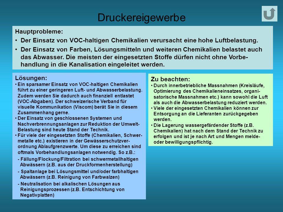 Druckereigewerbe Hauptprobleme: Der Einsatz von VOC-haltigen Chemikalien verursacht eine hohe Luftbelastung.