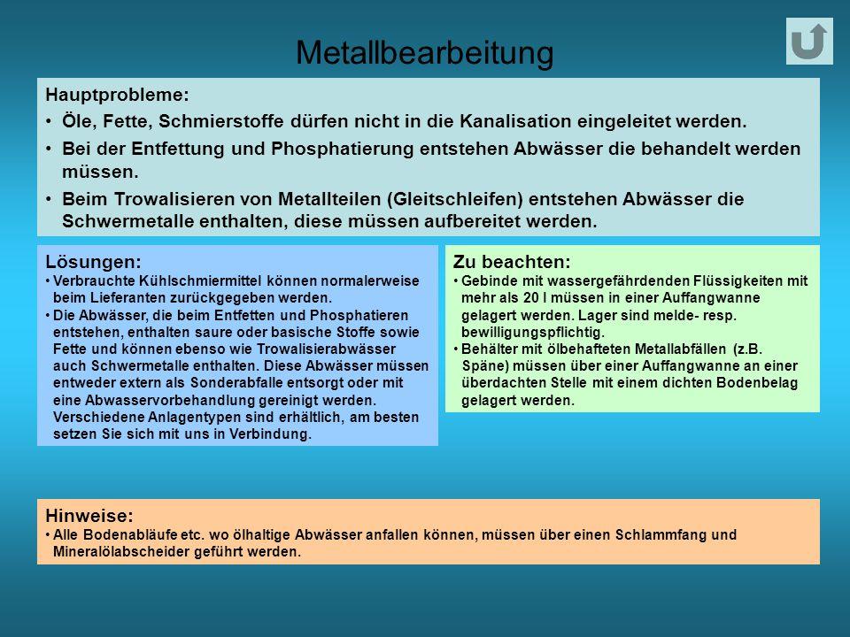 Metallbearbeitung Hauptprobleme: Öle, Fette, Schmierstoffe dürfen nicht in die Kanalisation eingeleitet werden.