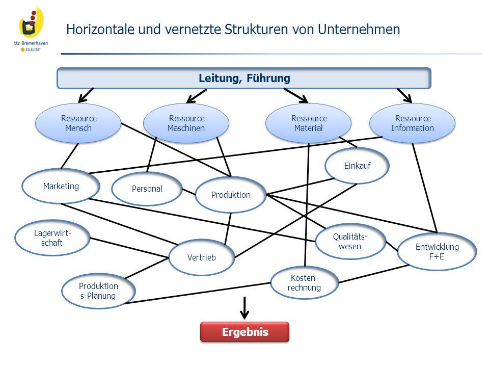 Horizontale und vernetzte Strukturen von Unternehmen Leitung, Führung Ressource Material Ressource Maschinen Ressource Mensch Ressource Information Qu