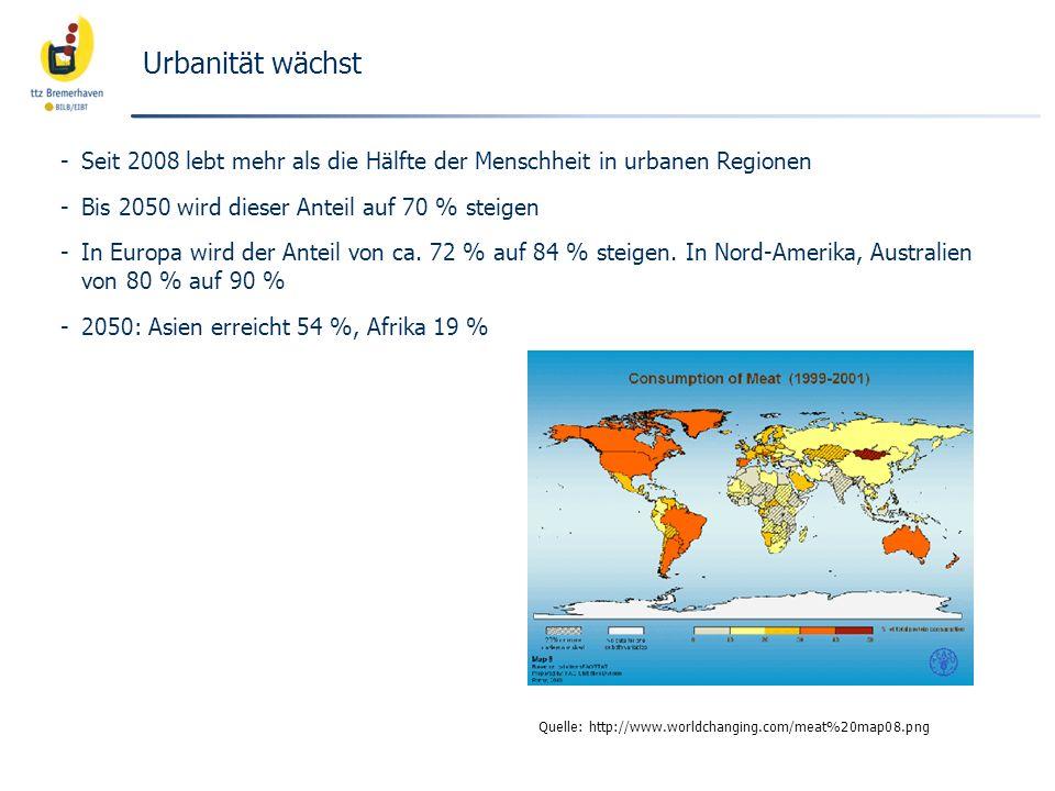 Urbanität wächst -Seit 2008 lebt mehr als die Hälfte der Menschheit in urbanen Regionen -Bis 2050 wird dieser Anteil auf 70 % steigen -In Europa wird