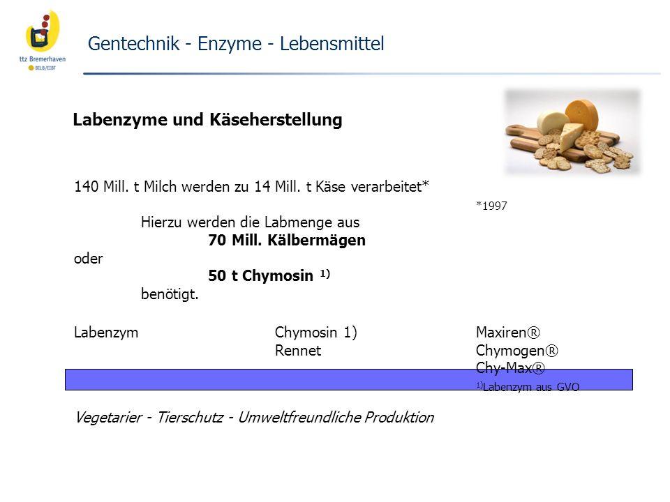 140 Mill. t Milch werden zu 14 Mill. t Käse verarbeitet* *1997 Hierzu werden die Labmenge aus 70 Mill. Kälbermägen oder 50 t Chymosin 1) benötigt. Lab