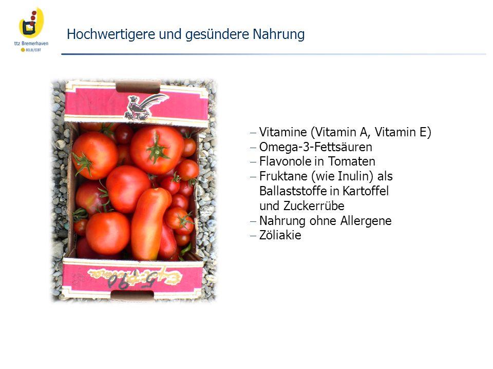 Vitamine (Vitamin A, Vitamin E) Omega-3-Fettsäuren Flavonole in Tomaten Fruktane (wie Inulin) als Ballaststoffe in Kartoffel und Zuckerrübe Nahrung oh