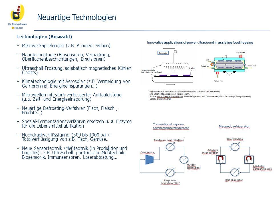 Neuartige Technologien Technologien (Auswahl) Mikroverkapselungen (z.B. Aromen, Farben) Nanotechnologie (Biosensoren, Verpackung, Oberflächenbeschicht