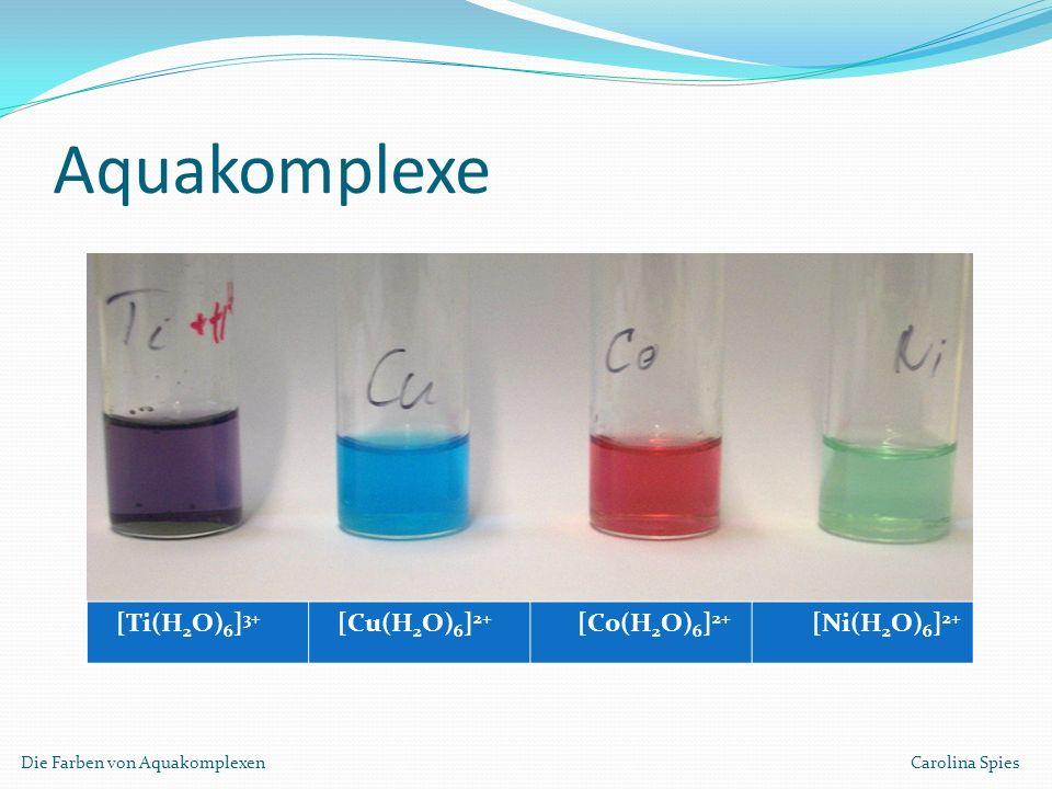 Aquakomplexe Die Farben von Aquakomplexen Carolina Spies [Ti(H 2 O) 6 ] 3+ [Cu(H 2 O) 6 ] 2+ [Co(H 2 O) 6 ] 2+ [Ni(H 2 O) 6 ] 2+