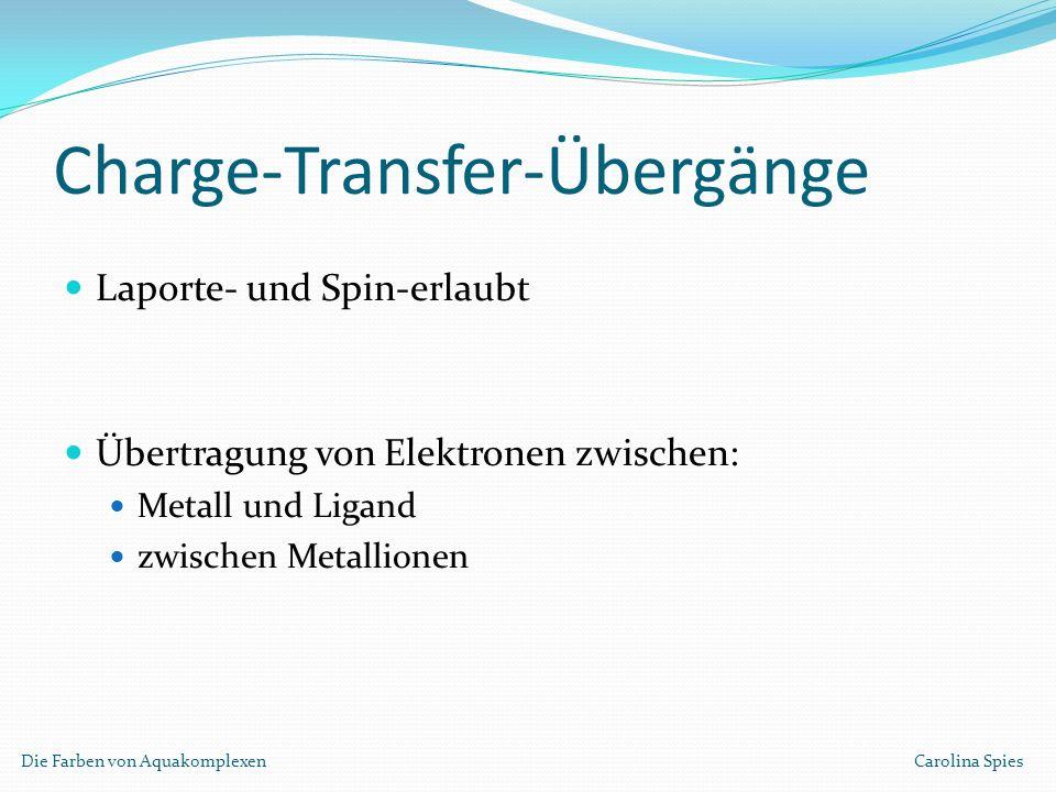 Charge-Transfer-Übergänge Laporte- und Spin-erlaubt Übertragung von Elektronen zwischen: Metall und Ligand zwischen Metallionen Die Farben von Aquakom