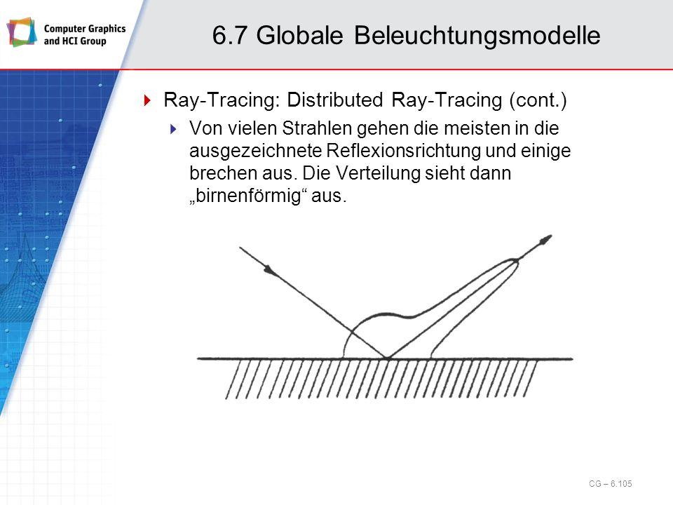 6.7 Globale Beleuchtungsmodelle Ray-Tracing: Distributed Ray-Tracing (cont.) Von vielen Strahlen gehen die meisten in die ausgezeichnete Reflexionsric