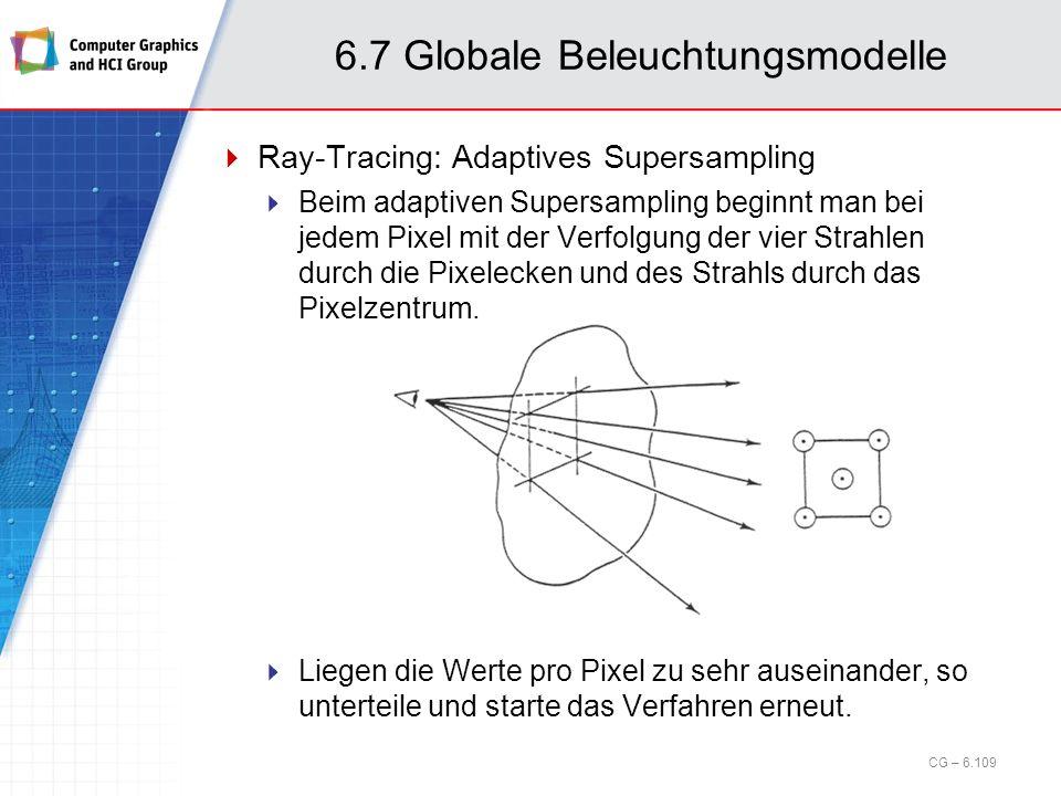 6.7 Globale Beleuchtungsmodelle Ray-Tracing: Adaptives Supersampling Beim adaptiven Supersampling beginnt man bei jedem Pixel mit der Verfolgung der v