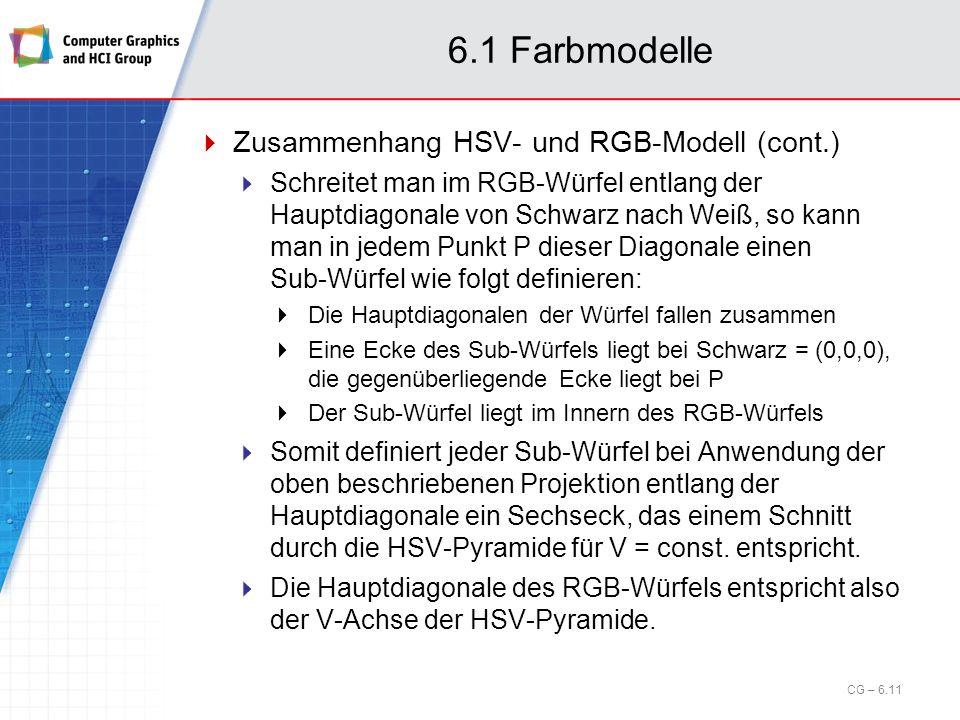 6.1 Farbmodelle Zusammenhang HSV- und RGB-Modell (cont.) Schreitet man im RGB-Würfel entlang der Hauptdiagonale von Schwarz nach Weiß, so kann man in