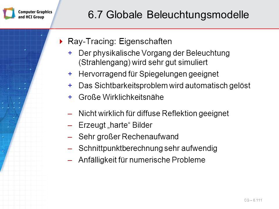 6.7 Globale Beleuchtungsmodelle Ray-Tracing: Eigenschaften +Der physikalische Vorgang der Beleuchtung (Strahlengang) wird sehr gut simuliert +Hervorra