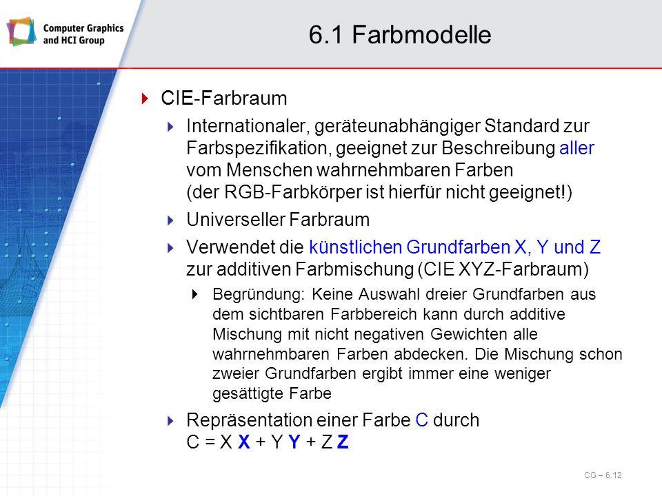 6.1 Farbmodelle CIE-Farbraum Internationaler, geräteunabhängiger Standard zur Farbspezifikation, geeignet zur Beschreibung aller vom Menschen wahrnehm