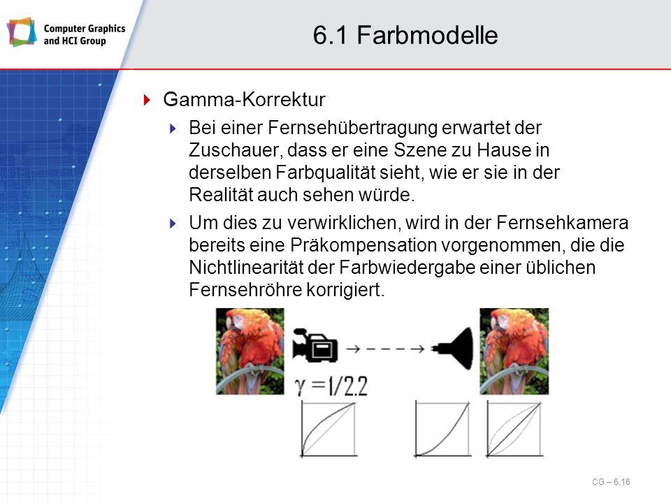 6.1 Farbmodelle Gamma-Korrektur Bei einer Fernsehübertragung erwartet der Zuschauer, dass er eine Szene zu Hause in derselben Farbqualität sieht, wie