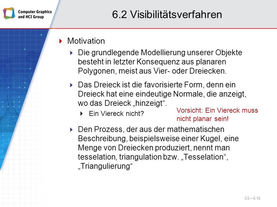 6.2 Visibilitätsverfahren Motivation Die grundlegende Modellierung unserer Objekte besteht in letzter Konsequenz aus planaren Polygonen, meist aus Vie