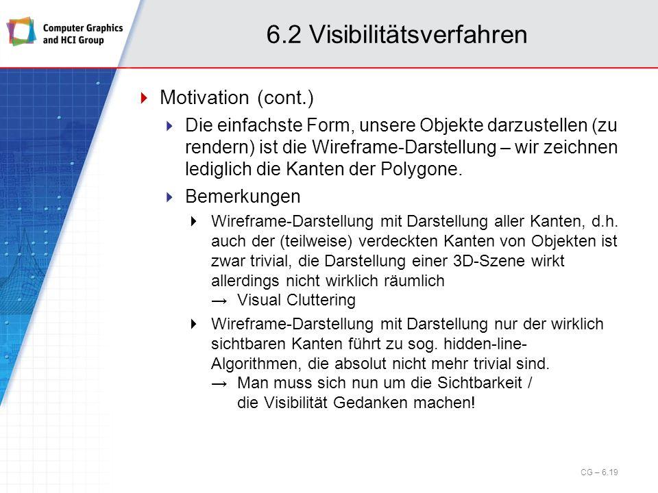 6.2 Visibilitätsverfahren Motivation (cont.) Die einfachste Form, unsere Objekte darzustellen (zu rendern) ist die Wireframe-Darstellung – wir zeichne