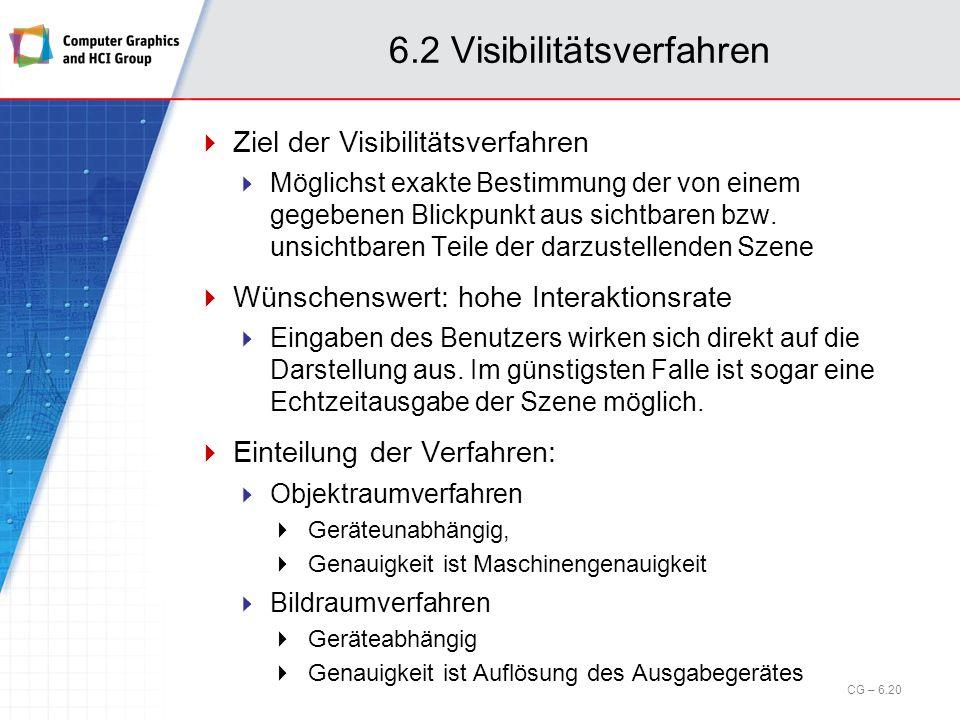 6.2 Visibilitätsverfahren Ziel der Visibilitätsverfahren Möglichst exakte Bestimmung der von einem gegebenen Blickpunkt aus sichtbaren bzw. unsichtbar