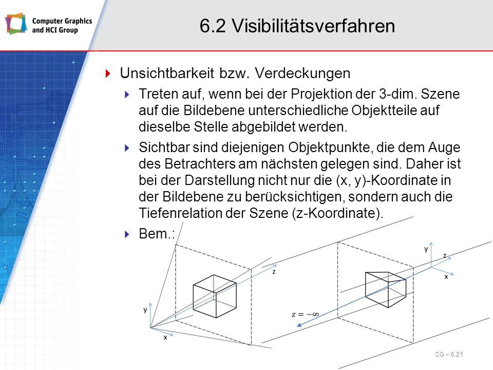 6.2 Visibilitätsverfahren Unsichtbarkeit bzw. Verdeckungen Treten auf, wenn bei der Projektion der 3-dim. Szene auf die Bildebene unterschiedliche Obj