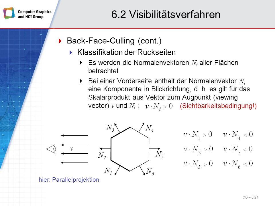 6.2 Visibilitätsverfahren Back-Face-Culling (cont.) Klassifikation der Rückseiten Es werden die Normalenvektoren N i aller Flächen betrachtet Bei eine