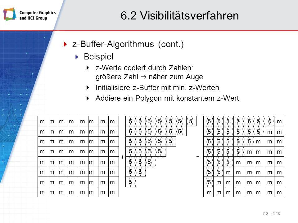 6.2 Visibilitätsverfahren z-Buffer-Algorithmus (cont.) Beispiel z-Werte codiert durch Zahlen: größere Zahl näher zum Auge Initialisiere z-Buffer mit m