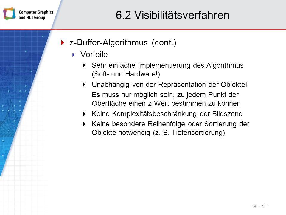 6.2 Visibilitätsverfahren z-Buffer-Algorithmus (cont.) Vorteile Sehr einfache Implementierung des Algorithmus (Soft- und Hardware!) Unabhängig von der