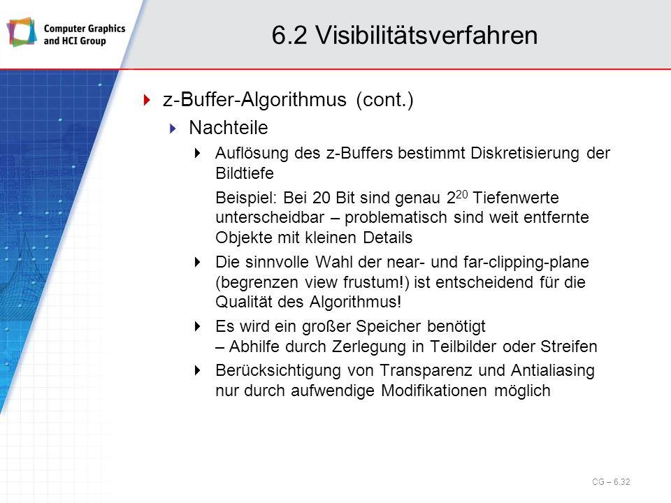 6.2 Visibilitätsverfahren z-Buffer-Algorithmus (cont.) Nachteile Auflösung des z-Buffers bestimmt Diskretisierung der Bildtiefe Beispiel: Bei 20 Bit s