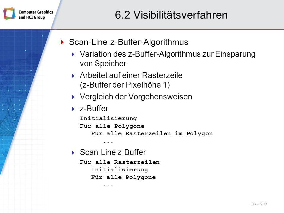6.2 Visibilitätsverfahren Scan-Line z-Buffer-Algorithmus Variation des z-Buffer-Algorithmus zur Einsparung von Speicher Arbeitet auf einer Rasterzeile