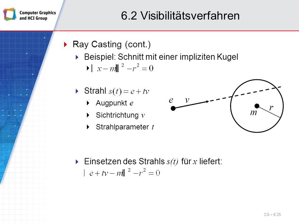 6.2 Visibilitätsverfahren Ray Casting (cont.) Beispiel: Schnitt mit einer impliziten Kugel Strahl Augpunkt e Sichtrichtung v Strahlparameter t Einsetz