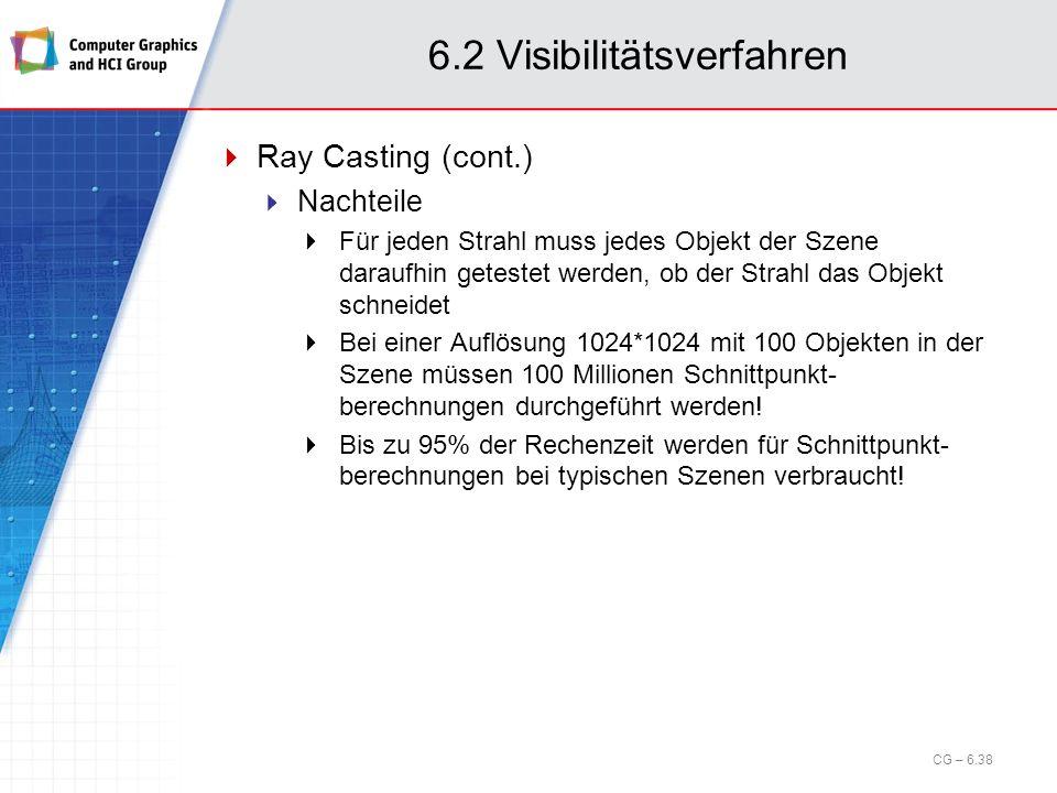 6.2 Visibilitätsverfahren Ray Casting (cont.) Nachteile Für jeden Strahl muss jedes Objekt der Szene daraufhin getestet werden, ob der Strahl das Obje