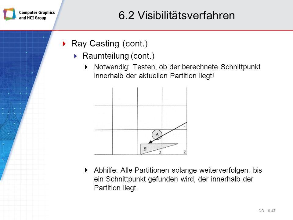 6.2 Visibilitätsverfahren Ray Casting (cont.) Raumteilung (cont.) Notwendig: Testen, ob der berechnete Schnittpunkt innerhalb der aktuellen Partition