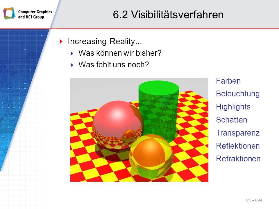 6.2 Visibilitätsverfahren Increasing Reality... Was können wir bisher? Was fehlt uns noch? Farben Beleuchtung Highlights Schatten Transparenz Reflekti