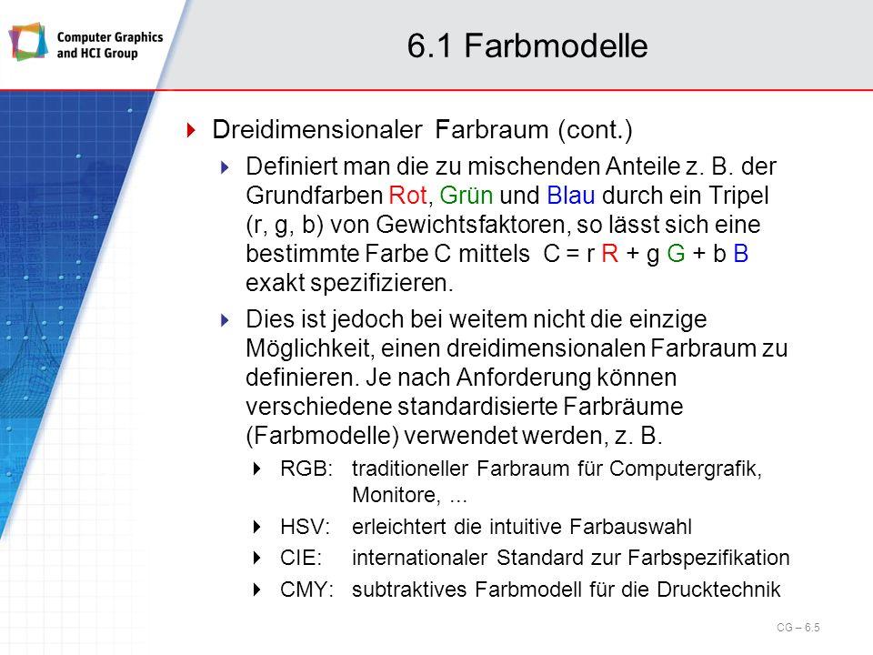 6.2 Visibilitätsverfahren z-Buffer-Algorithmus (Catmull, 1975) Bestimmt Sichtbarkeit von Bildpunkten Arbeitet im Bildraum / im Display-Koordinatensystem Geeignet für die Bildausgabe auf Rastergeräten Arbeitsweise Funktional gesehen führt der z-Buffer-Algorithmus innerhalb des Bildraums für jeden Bildpunkt eine Suche nach demjenigen Polygon durch, in dessen Innern der Punkt liegt und dessen zugehöriger z-Wert am größten ist (am weitesten vorne liegt).