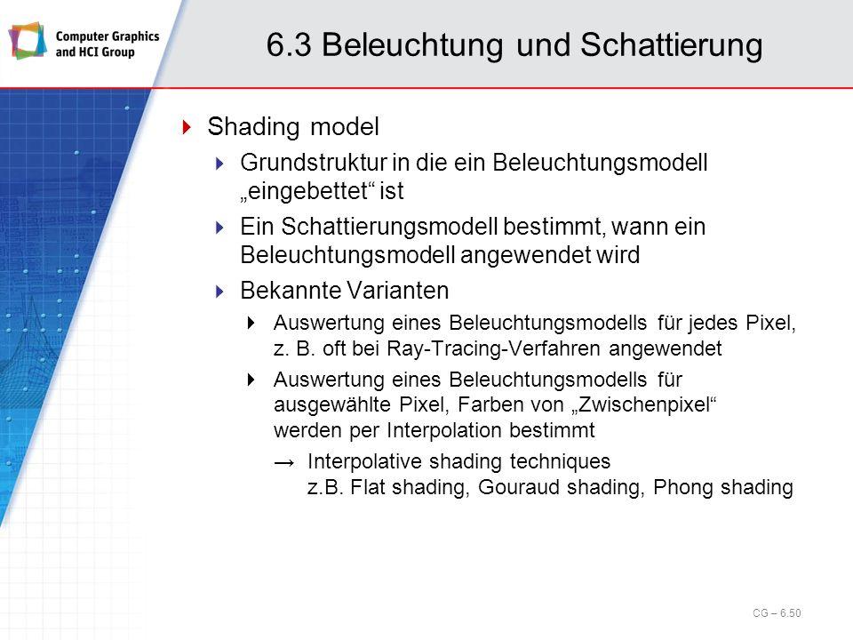6.3 Beleuchtung und Schattierung Shading model Grundstruktur in die ein Beleuchtungsmodell eingebettet ist Ein Schattierungsmodell bestimmt, wann ein