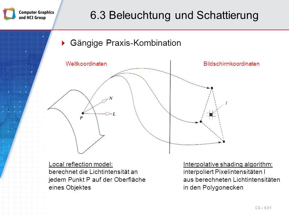 6.3 Beleuchtung und Schattierung Gängige Praxis-Kombination Weltkoordinaten Bildschirmkoordinaten Local reflection model: berechnet die Lichtintensitä