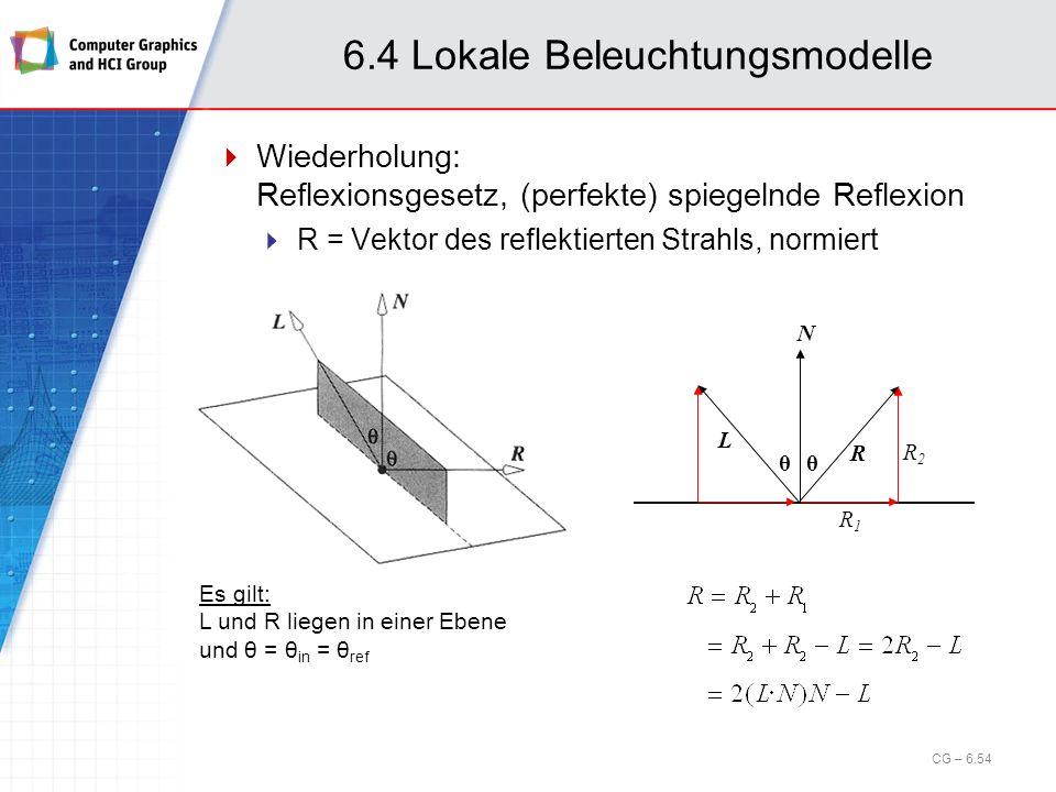 6.4 Lokale Beleuchtungsmodelle Wiederholung: Reflexionsgesetz, (perfekte) spiegelnde Reflexion R = Vektor des reflektierten Strahls, normiert N L R θθ