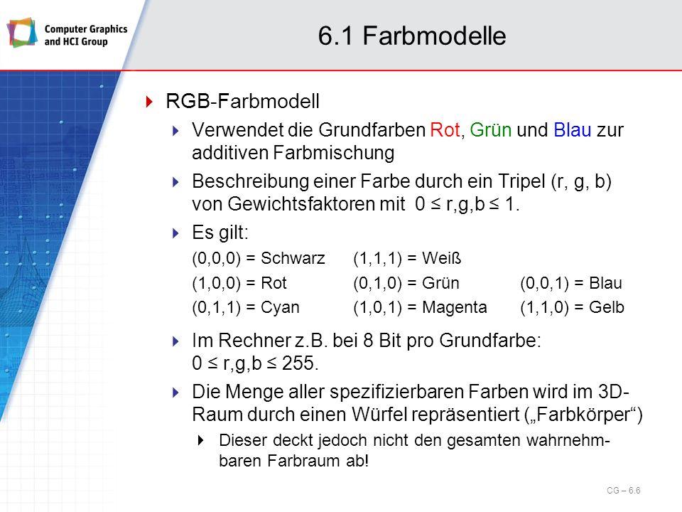 6.7 Globale Beleuchtungsmodelle Zwei verschiedene Ansätze Ray Tracing Ray Casting + Strahlverfolgung für reflektierte und gebrochene Strahlen, Schattenberechnung Abhängig vom Augpunkt Radiosity Trennung von Sichtbarkeitstests und Schattierung Alle Interaktionen des Lichts mit den Objekten der Szene werden vorberechnet Unabhängig vom Augpunkt CG – 6.97