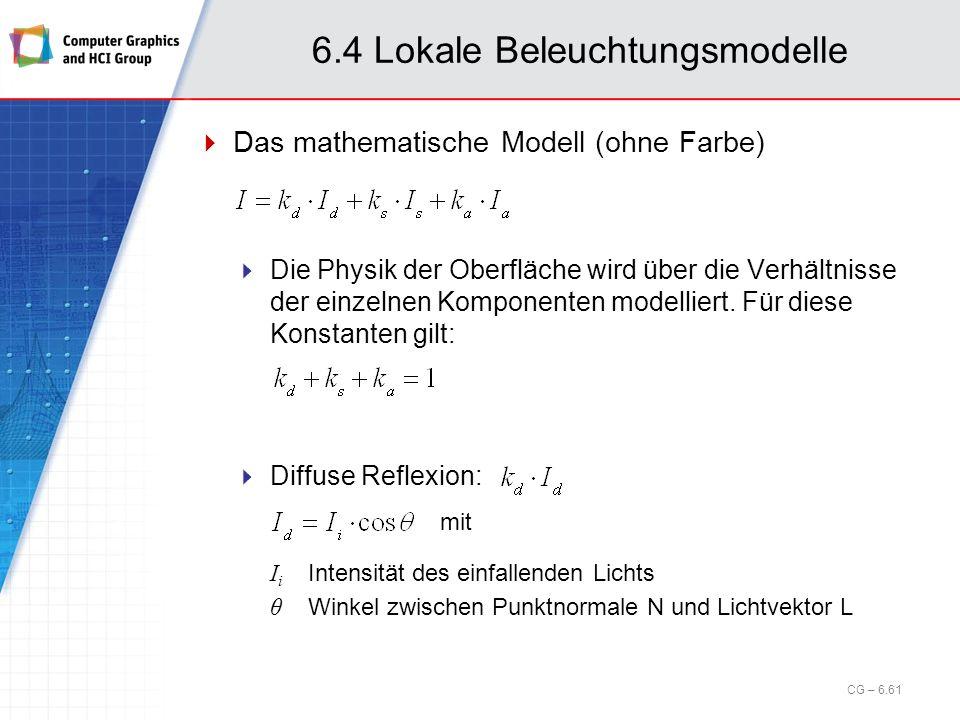 6.4 Lokale Beleuchtungsmodelle Das mathematische Modell (ohne Farbe) Die Physik der Oberfläche wird über die Verhältnisse der einzelnen Komponenten mo