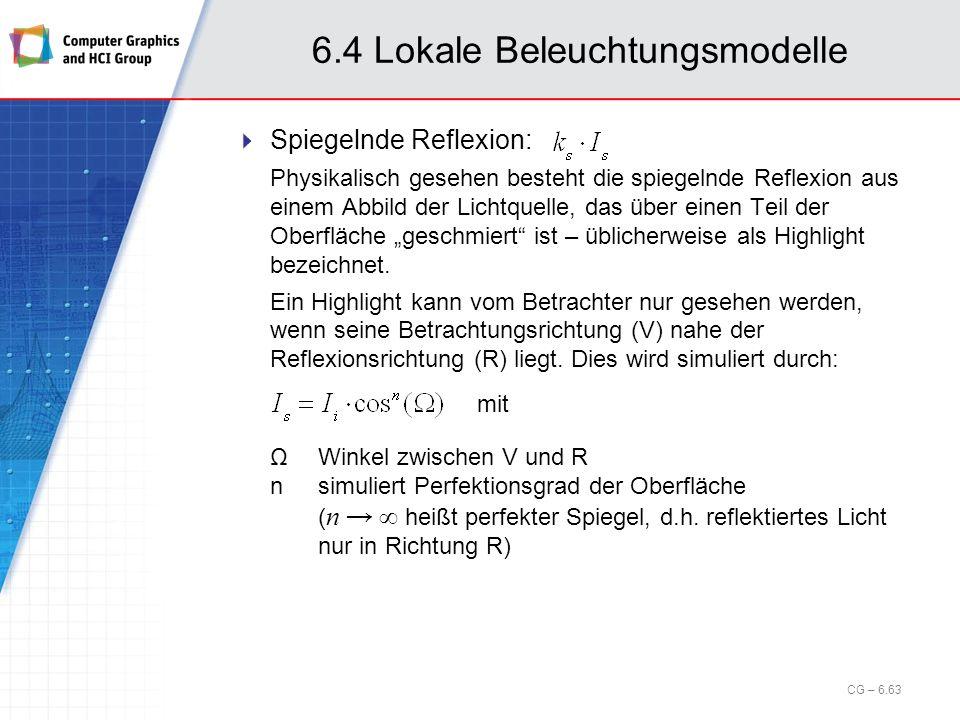 6.4 Lokale Beleuchtungsmodelle Spiegelnde Reflexion: Physikalisch gesehen besteht die spiegelnde Reflexion aus einem Abbild der Lichtquelle, das über
