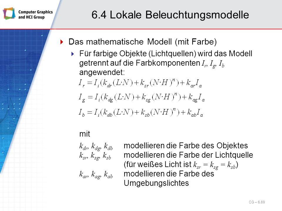 6.4 Lokale Beleuchtungsmodelle Das mathematische Modell (mit Farbe) Für farbige Objekte (Lichtquellen) wird das Modell getrennt auf die Farbkomponente