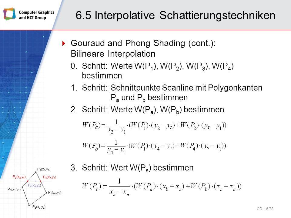 6.5 Interpolative Schattierungstechniken Gouraud and Phong Shading (cont.): Bilineare Interpolation 0.Schritt:Werte W(P 1 ), W(P 2 ), W(P 3 ), W(P 4 )