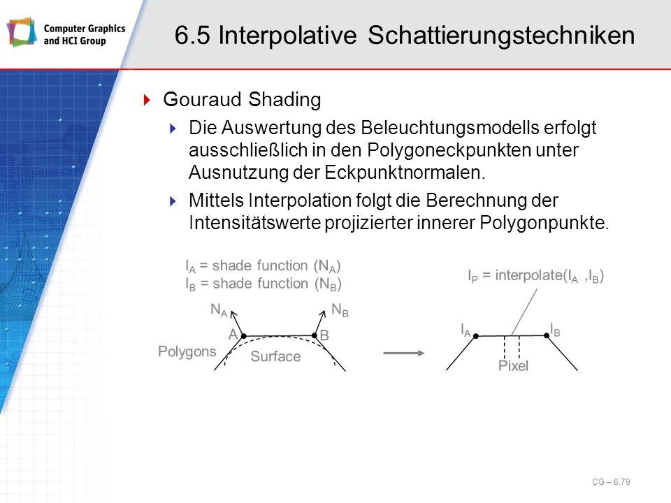 6.5 Interpolative Schattierungstechniken Gouraud Shading Die Auswertung des Beleuchtungsmodells erfolgt ausschließlich in den Polygoneckpunkten unter