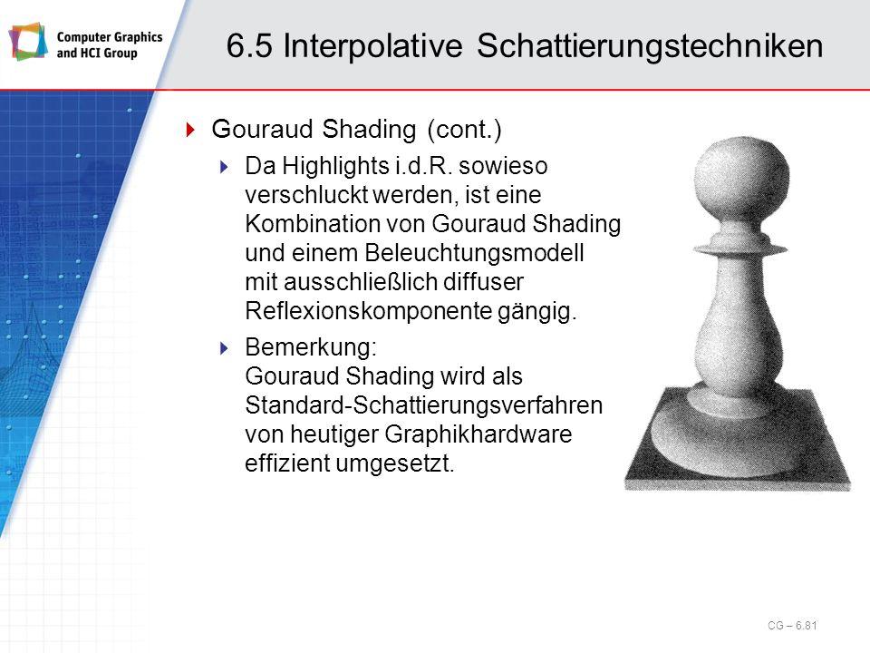 6.5 Interpolative Schattierungstechniken CG – 6.81 Gouraud Shading (cont.) Da Highlights i.d.R. sowieso verschluckt werden, ist eine Kombination von G