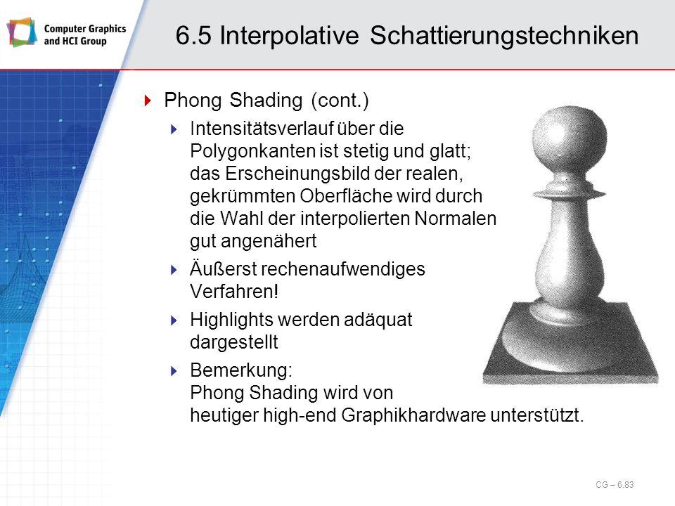 6.5 Interpolative Schattierungstechniken CG – 6.83 Phong Shading (cont.) Intensitätsverlauf über die Polygonkanten ist stetig und glatt; das Erscheinu