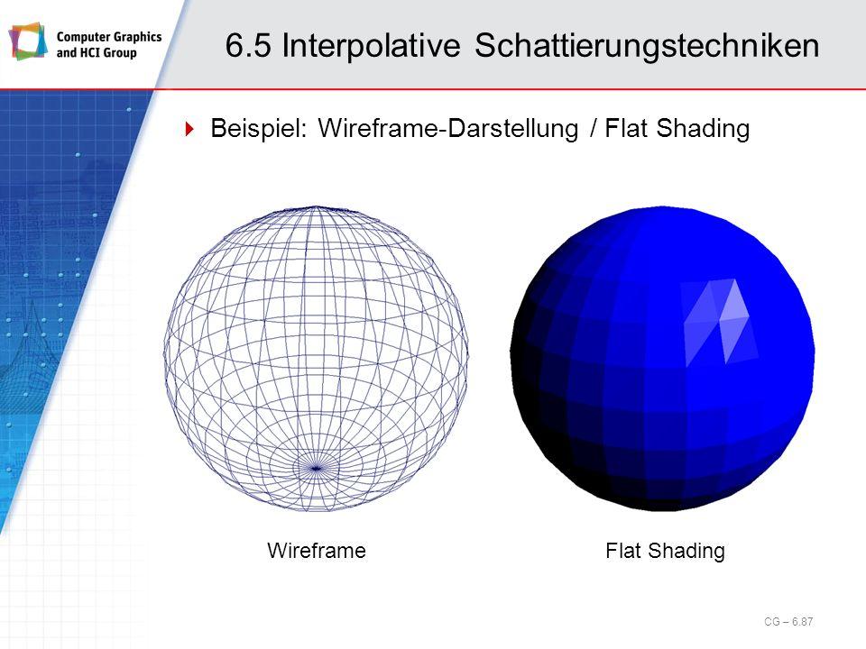 6.5 Interpolative Schattierungstechniken Beispiel: Wireframe-Darstellung / Flat Shading CG – 6.87 WireframeFlat Shading