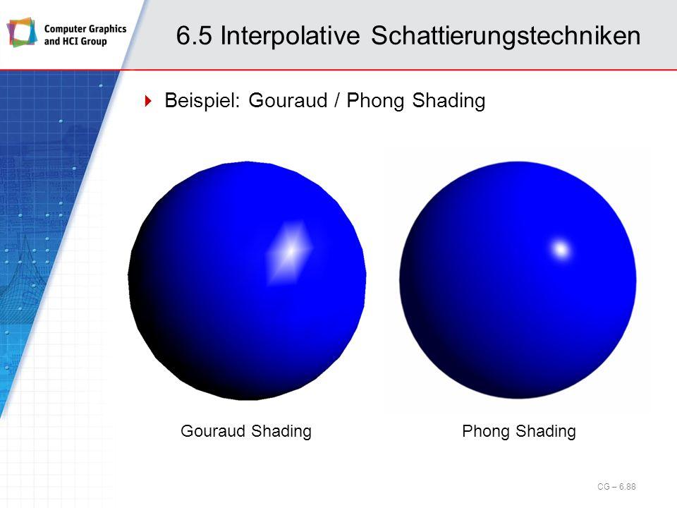 6.5 Interpolative Schattierungstechniken Beispiel: Gouraud / Phong Shading CG – 6.88 Gouraud ShadingPhong Shading