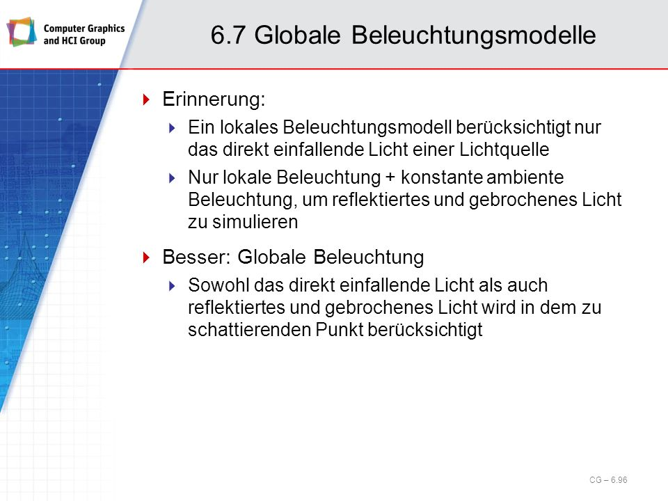 6.7 Globale Beleuchtungsmodelle Erinnerung: Ein lokales Beleuchtungsmodell berücksichtigt nur das direkt einfallende Licht einer Lichtquelle Nur lokal