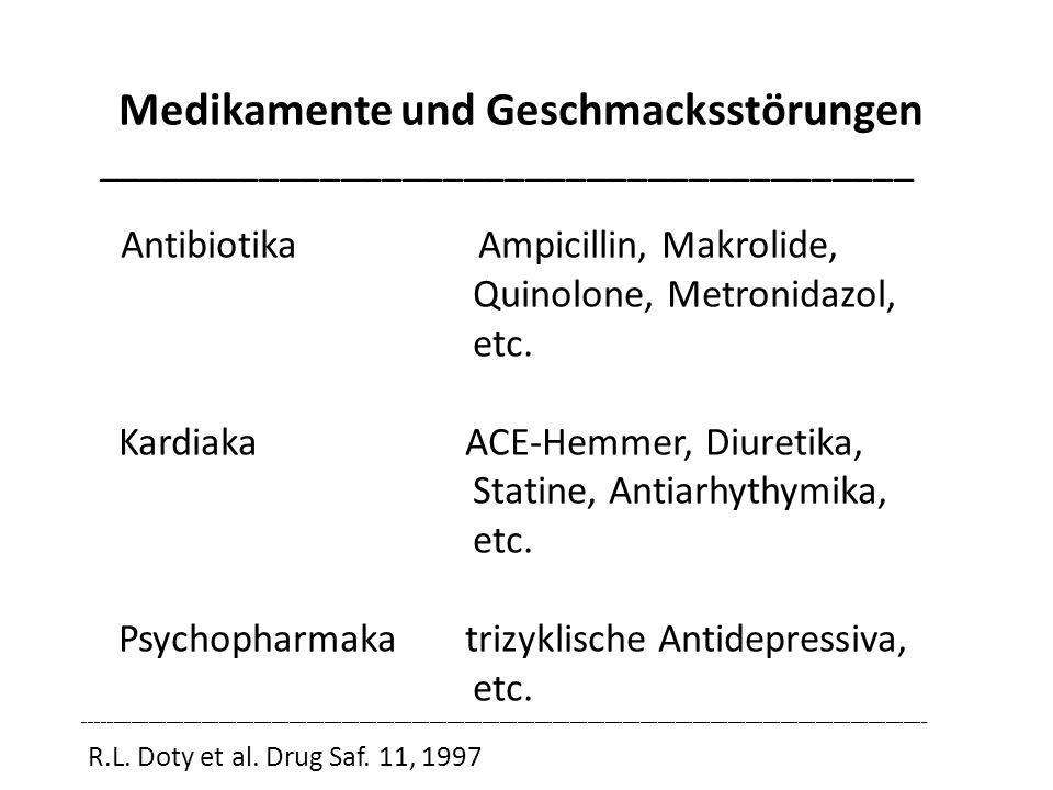Medikamente und Geschmacksstörungen ________________________________________ Antibiotika Ampicillin, Makrolide, Quinolone, Metronidazol, etc. Kardiaka